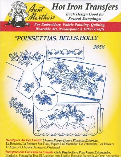 Poinsettias, Bells, Holly Aunt Martha's Hot Iron Embroidery Transfer