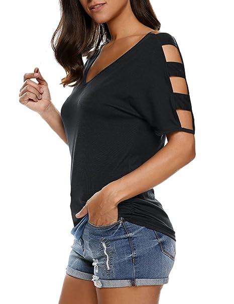 9742e8e75b26 Sherosa Women's Cut Out Short Sleeve Cold Shoulder Loose Fit T Shirt Tops  Blouse (S