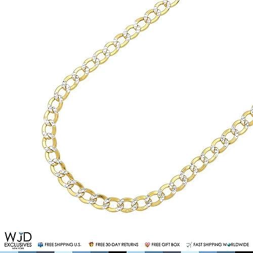 "10K Two-Tone Gold Mens Women/'s Diamond Cut Cuban Link Chain Necklace 2MM 16/""-24/"""