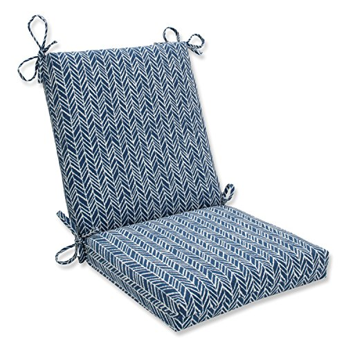 Pillow Perfect Outdoor   Indoor Herringbone Ink Blue Squared Corners Chair Cushion