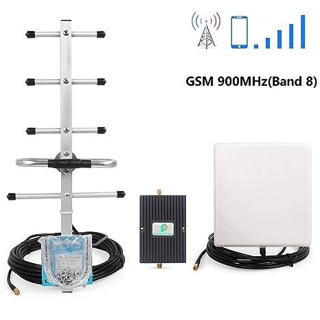 Proutone 65dB gsm 3G 900MHz Amplificador de Señal Kit con Panel Antena Interior y gsm Yagi