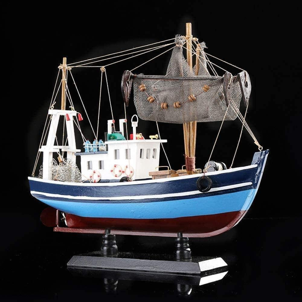 Statues,Figurine Statue Statues Statuette Blue Handmade Wood Fishing Boat Model Nautical Wooden Trawler Ship Miniature Craft Ornament Furnishing Home Decoration Souvenir Gift Sculptue Sculptures