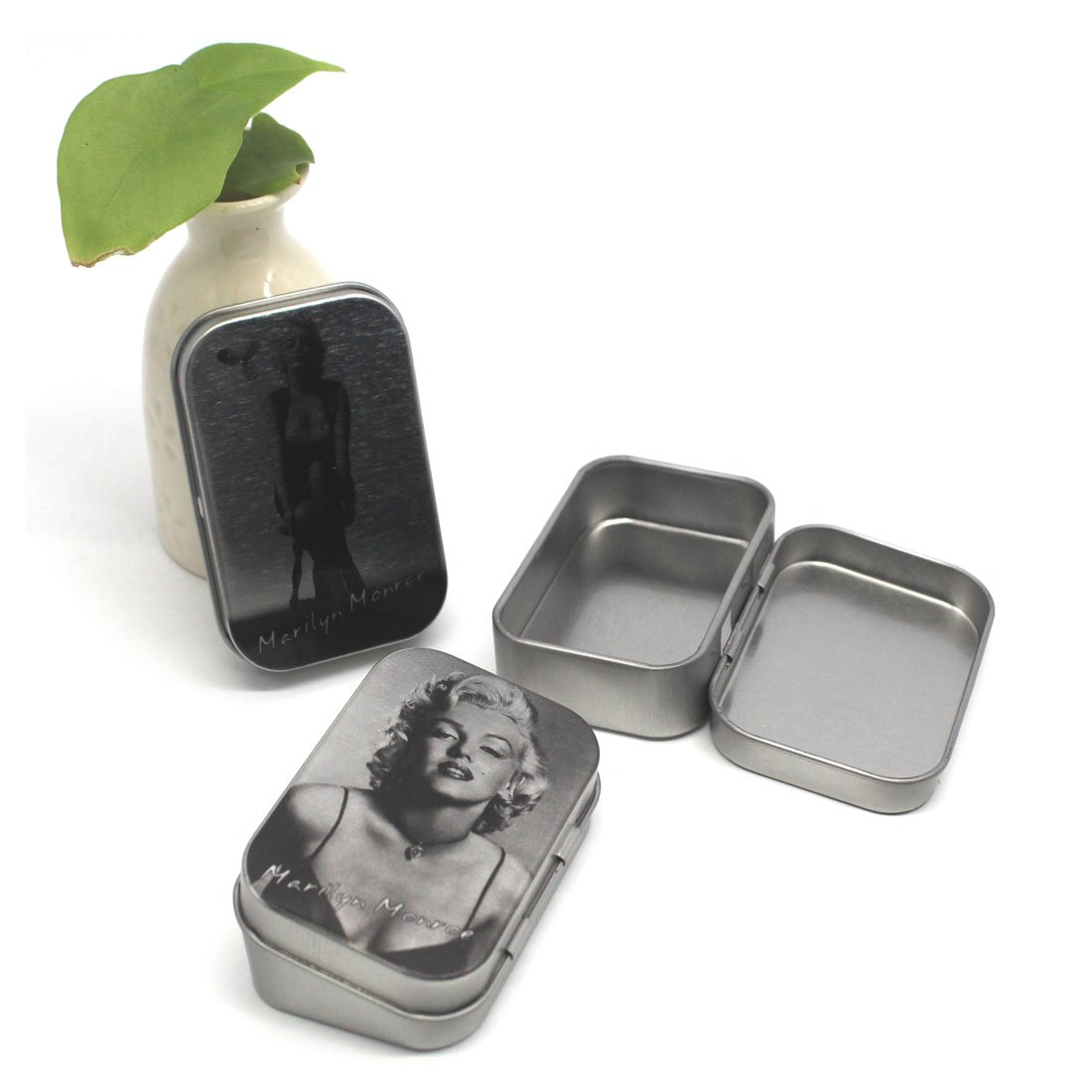 Aggice Small Tin Containers with Marilyn Monroe for Buttons,Coins,Trinkets,Small Objects 6 Pack Metal Tin Storage Boxes Marilyn Monroe