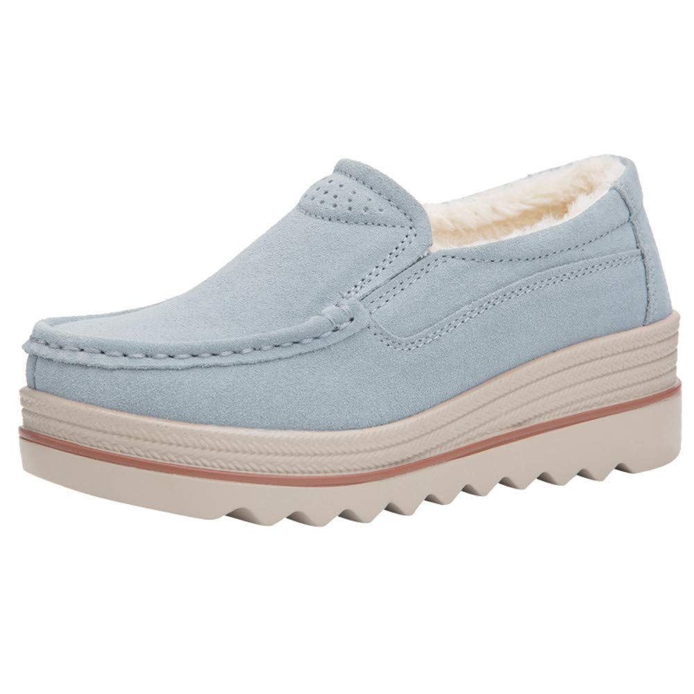 Claystyle Women Platform Slip On Loafers Comfort Suede Casual Moccasins Low Top Mid Heel Wedge Penny Shoes(Gray,US: 6.5)