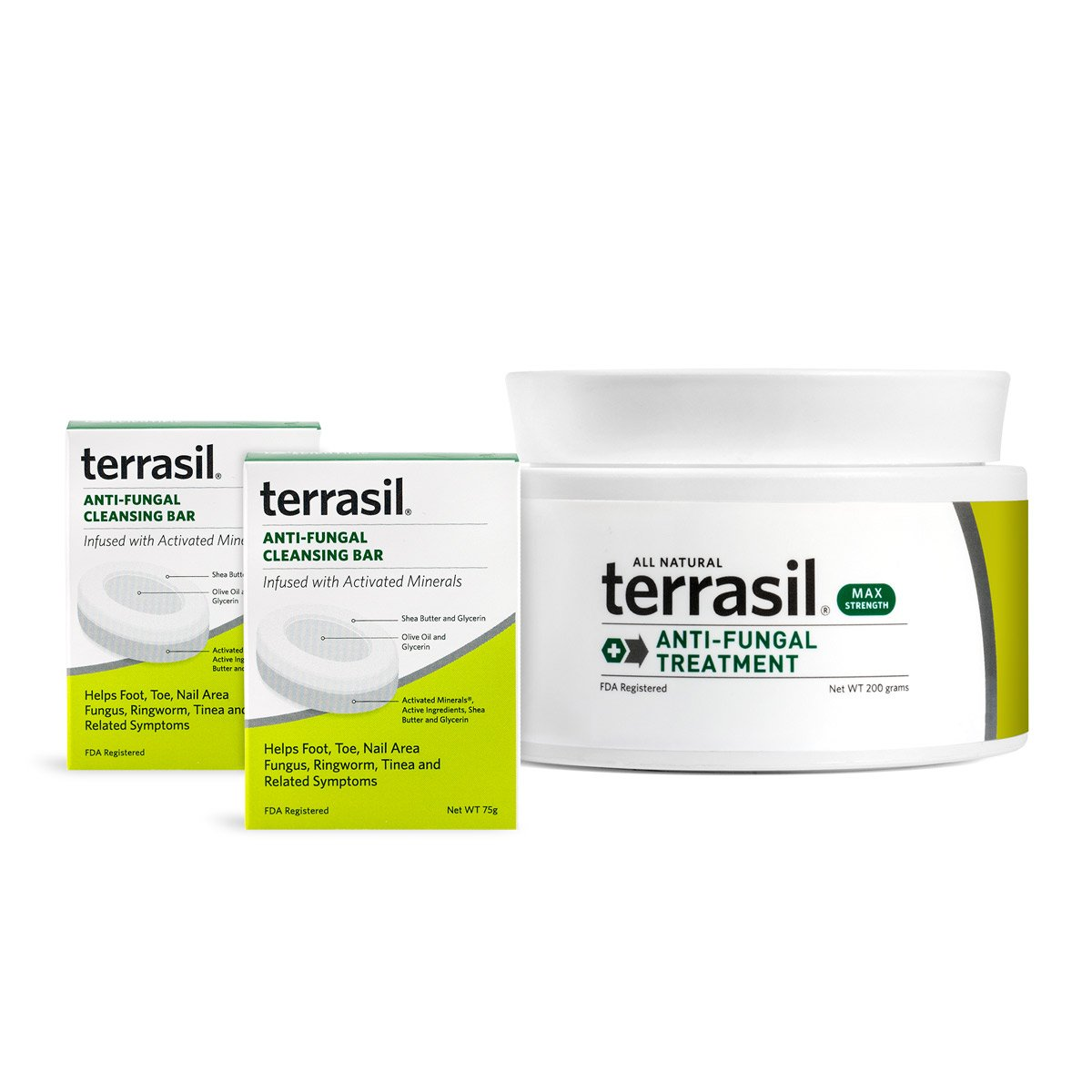 terrasil® Anti-fungal Treatment MAX + Anti-fungal Cleansing Soap - 6X Faster Doctor Recommended 100% Guaranteed All-Natural Soothing Clotrimazole OTC-Registered - Complete Treatment- 200g + 2 Bars by Aidance Skincare & Topical Solutions