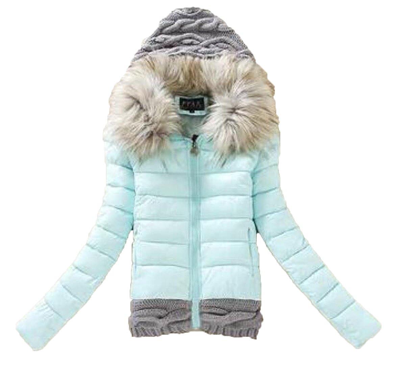 JXG-Women Winter Packable Fur Collar Jacket Parka Coat with Knit Hood
