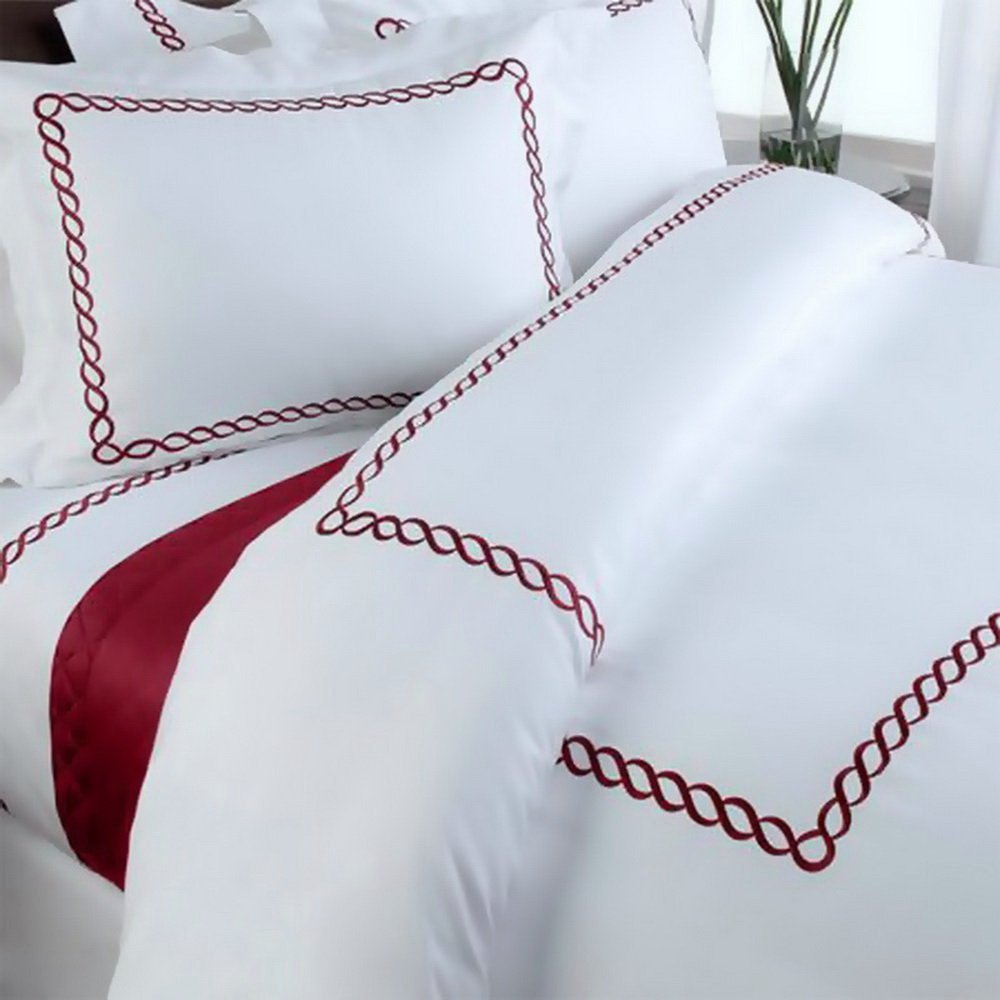 Hotel Duvet Cover Set White Embroidered 100 Egyptian Cotton with Red Trim Pattern 5 Piece Full/Queen Size