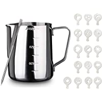Milk Frothing Jug, Milk Pitcher 350ml / 12oz, Milk Foam jug Stainless Steel Set for Cappuccino and Latte Art