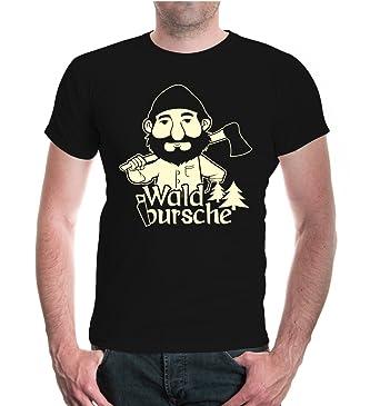 buXsbaum Herren Unisex Kurzarm T-Shirt Bedruckt Waldbursche | Waldarbeiter  Förster Holzfäller | S Black