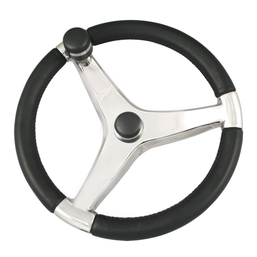 Ongaro Evo Pro 316 Cast Stainless Steel Steering Wheel w/Control Knob - 13.5 Diameter