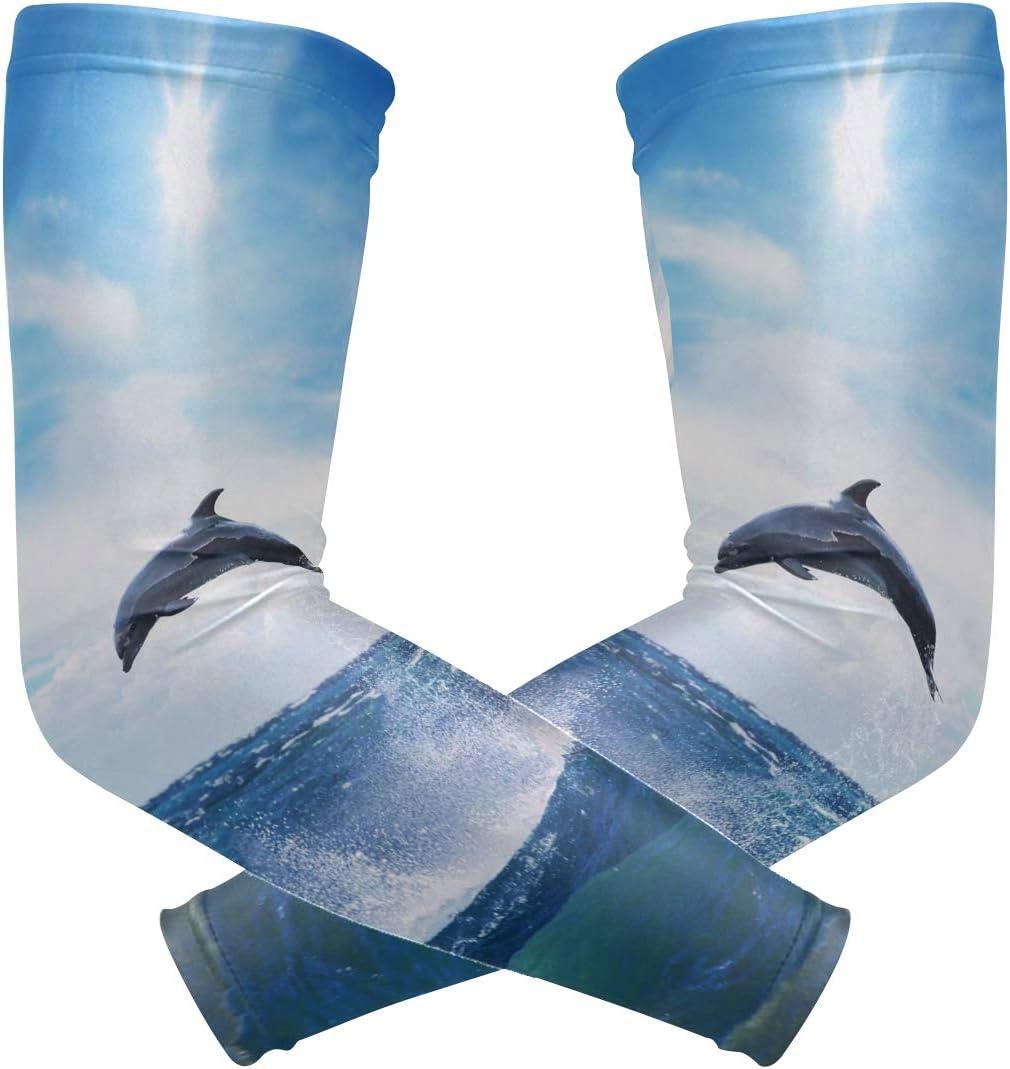 Arm Sleeves Blue Ocean Mens Sun UV Protection Sleeves Arm Warmers Cool Long Set Covers