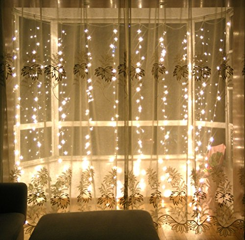 Lebefe 9.84ft x 9.84ft 300 Led Icicle Curtain Lights Christmas Lights Union Lights String Lights for Home Decor With Memory Function Controller UL certified (Warm White)