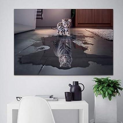 Lwlnb Pittura Murale Adesivo Da Parete Hd Animali Gatto E Tigre Immagini Stampe Su Tela Stampe