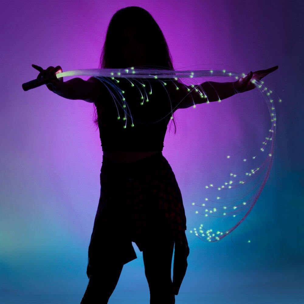 GloFX Space Whip Pro [PROGRAMMABLE LED Fiber Optic Whip] 6 Ft 360° Swivel - Super Bright Light Up Rave Toy | EDM Pixel Flow Lace Dance Festival by GloFX (Image #7)