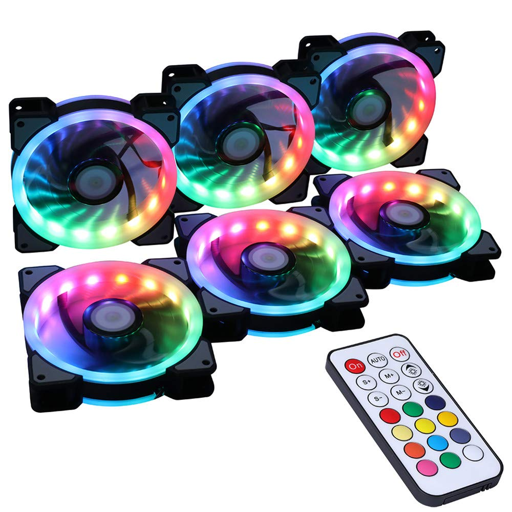 Ubanner Wireless Rgb Led 120mm Case Fan With Controller For Pc Cases 680 Wiring Diagram Cpu Coolers Radiators System 6pcs Fans Rf Remote Control