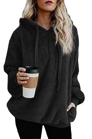 ReachMe Women s Oversized Sherpa Pullover Hoodie with Pockets 1 4 Zip  Sweatshirt(Black 5c6ebcbda