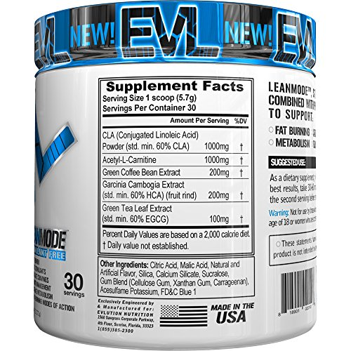 Evlution Nutrition Lean Mode Stimulant-Free Weight Loss Supplement with Garcinia Cambogia, CLA and Green Tea Leaf extract (30 Serving, Blue Raz)