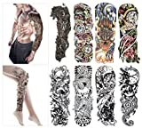 Fashion Temporary Tattoo Transfer Stickers - 8 Sheets Large Size Tattoo Body Stickers for Man & Women Waterproof Removeable Non-Toxics & Safe for All Skin (Full Arm)