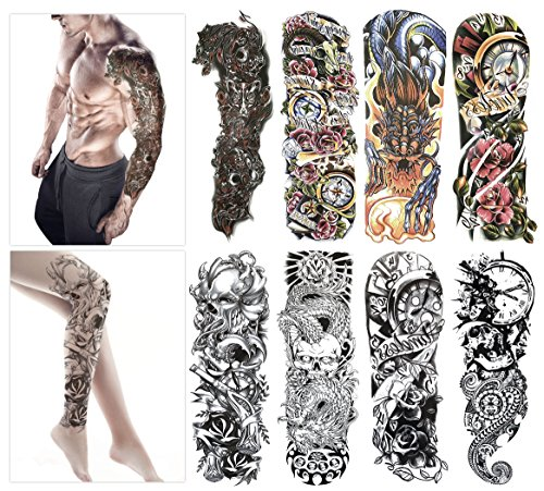 4d24061fd22 Fashion Temporary Tattoo Transfer Stickers - 8 Sheets Large Size Tattoo  Body Stickers for Man