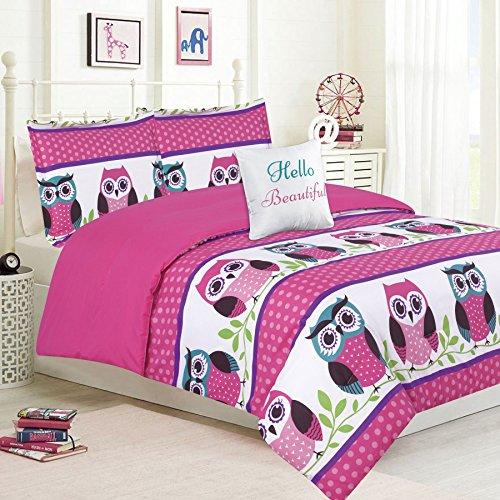 HowPlum Girls Bedding Queen 5 Piece Comforter Bed Set, Owl Pink Teal Purple
