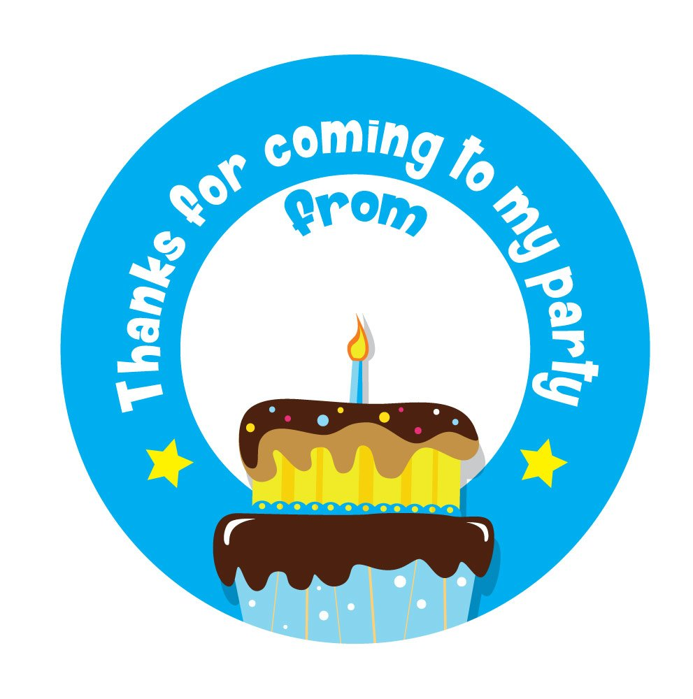 'Thanks For Coming To My Party' - Birthday Stickers - 30mm - Birthday Cake Design - Blue - with space to write name (144) StickerZone