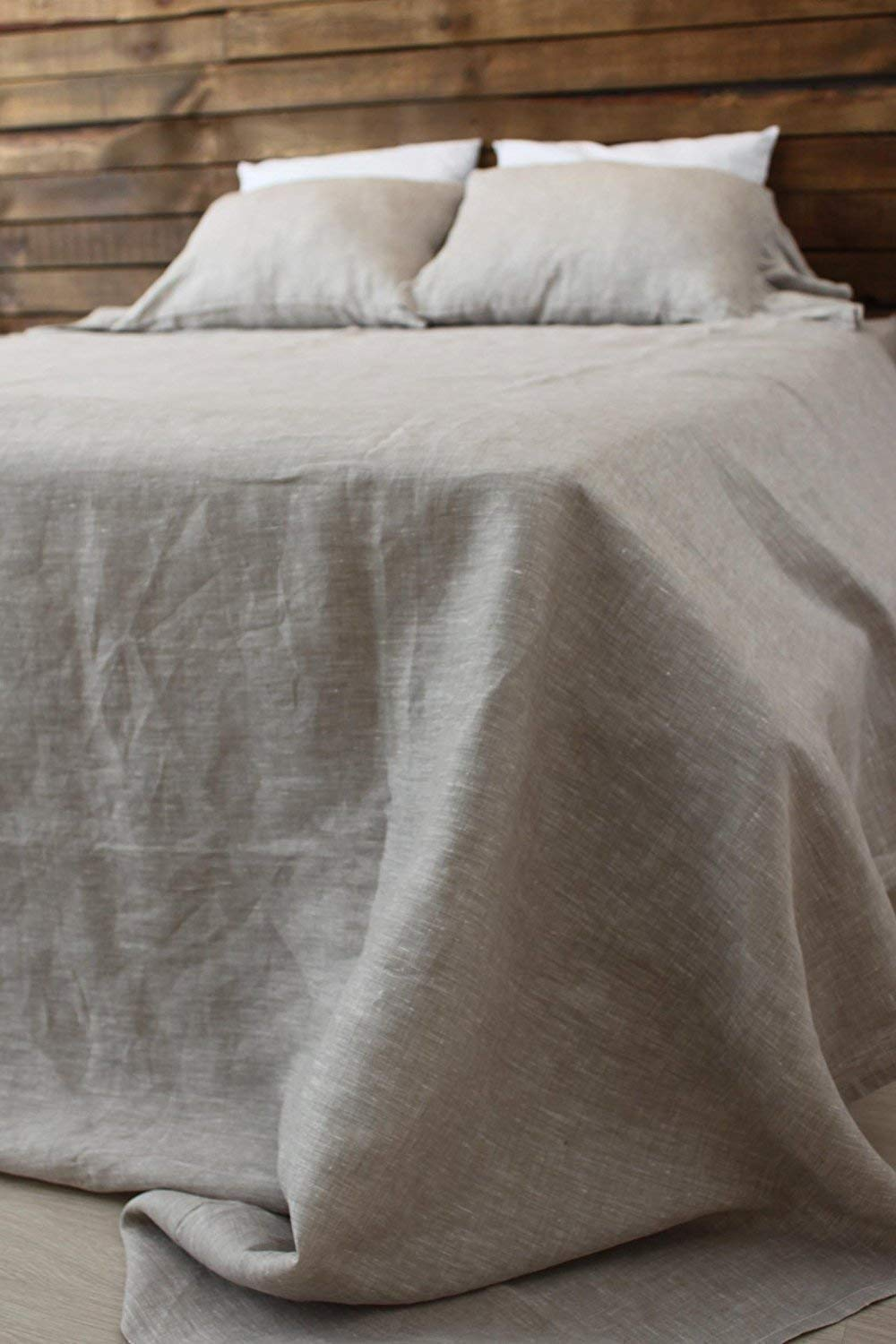 Natural Linen Bedding 4 pcs Set - Flat Sheet, Fitted Sheet, 2 Pillowcases - Different Sizes - in Natural, White and Grey Colors
