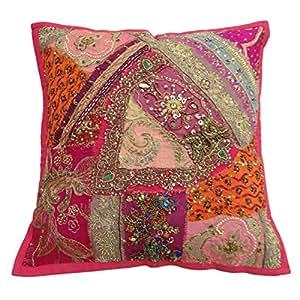 """Decoración del hogar tradicional Pink Patchwork Cojín Algodón Mezcla En 40 Cm almohada regalos 16 """"X 16"""""""