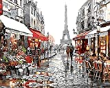 Arts Language Wooden Framed 16'' x 20'' Picture On Wall Acrylic Paint by Numbers Diy Painting T1267 Paris Street View
