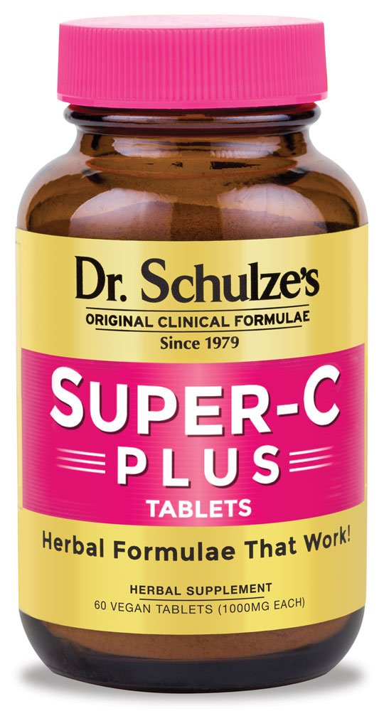 Dr. Schulze's | Super-C Plus | Vitamin C Complex | Clinical Herbal Formula | Dietary Supplement | Immunity Support | Increase Collagen Formation & Iron Absorption | 60 Chewable Tablets (1000 mg)
