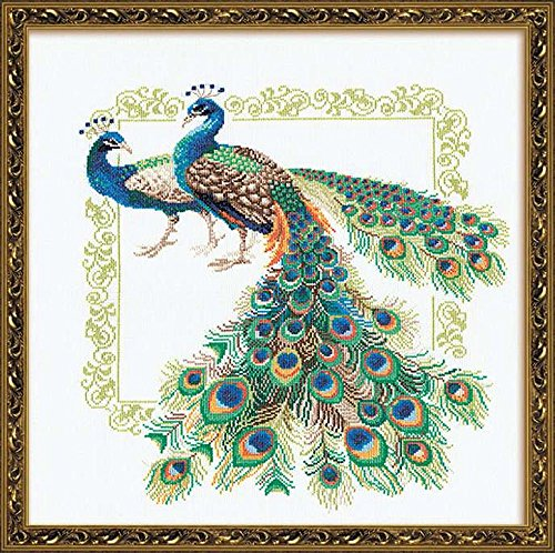 Peacock Cross Stitch - Riolis R767 Peacocks Counted Cross Stitch Kit, 18.875 by 18.875-Inch