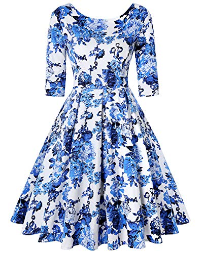 Women's Vintage 1960s Style 3/4 Floral Sleeve Evening Evening Party Dress (Floral White,Size L) ()