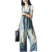 Bigasset Women's Casual Baggy Denim Bib Overalls Pant Jeans Jumpsuits