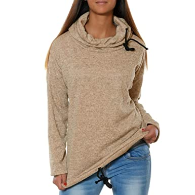 Keliay Womens Solid Long Sleeve O-Neck Causal Hooded Blouses Tops Shirts Tee Top
