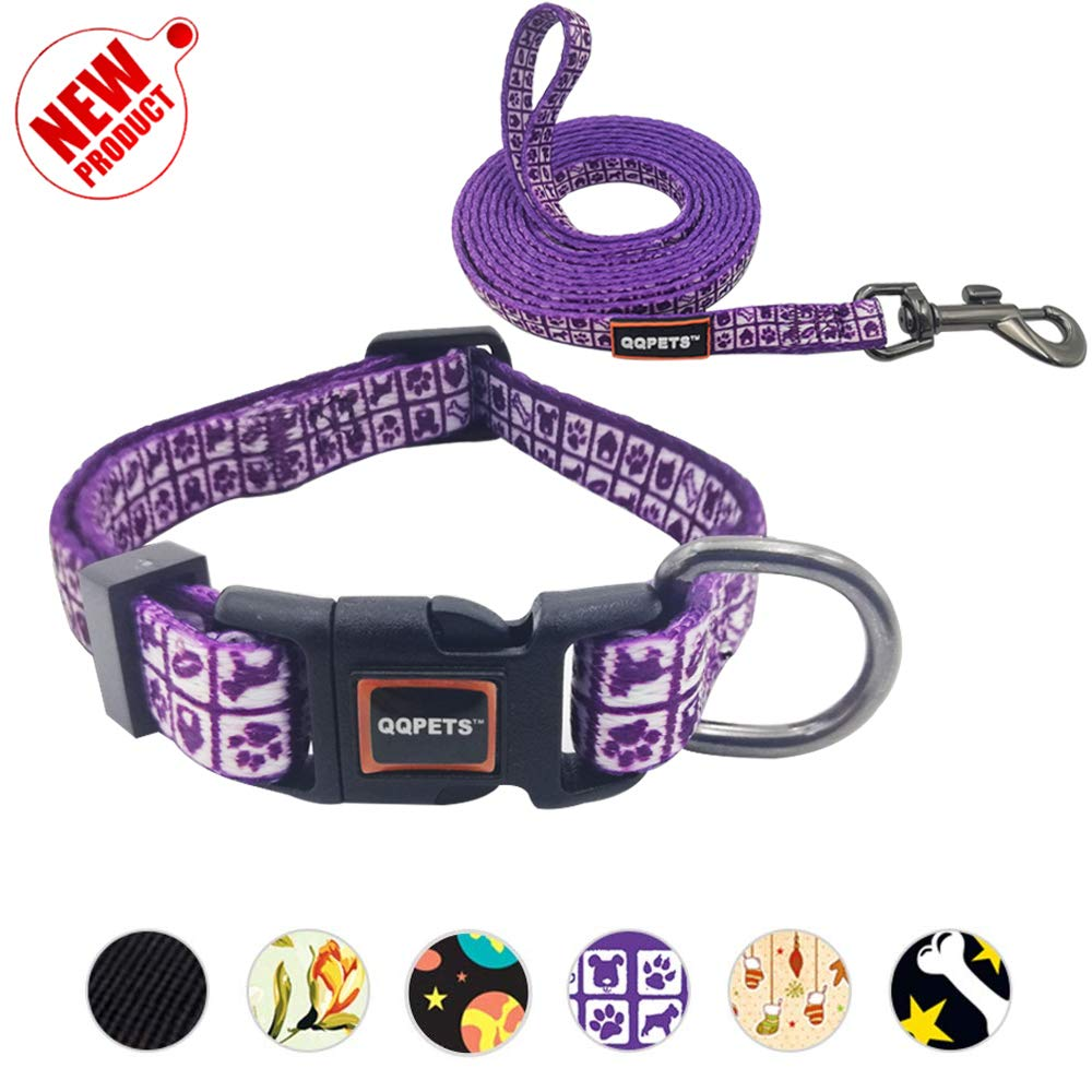 Purple XS(7-10\ Purple XS(7-10\ QQPETS Cute Dog Collar and Leash Set Durable Nylon Pet Adjustable No Pull Dog Collar with Quick Release Buckle for XXS XS Extra Small Puppy Girl Boy Up to 11lb Neck7-10 Hot Pink Purple