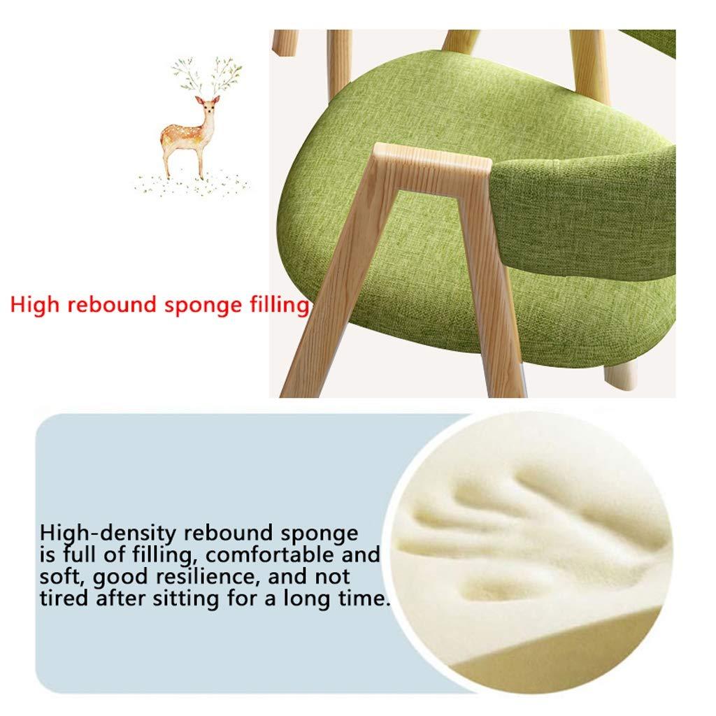 Matbord och stol kombination modern enkelhet café balkong kontor bageri bomull linne stol mjölk te butik 80 cm runt bord massivt trä vardagsrum bord och stol set Mörkbrunt Gräsgrön