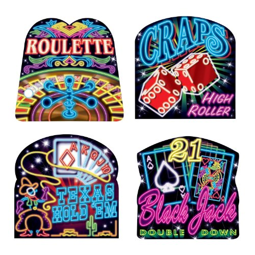 Beistle 50073 4-Pack Neon Casino Cutouts, 16-Inch]()