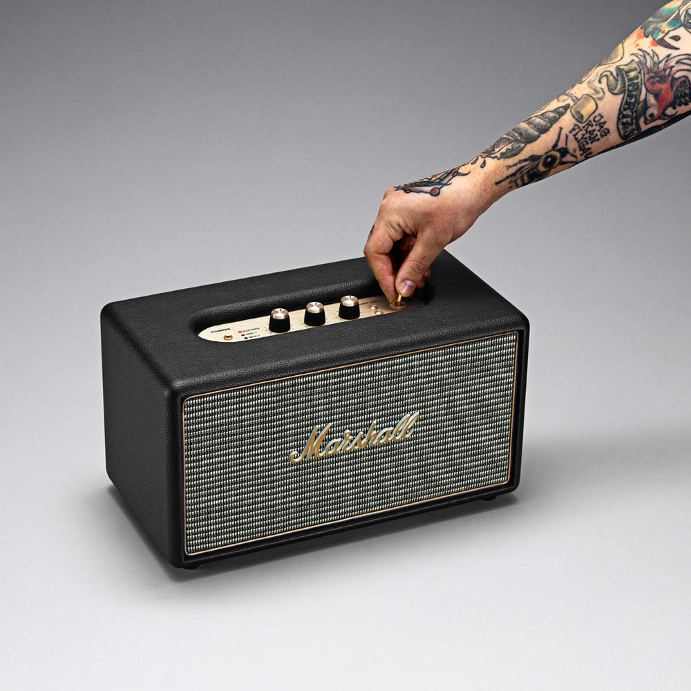 MARSHALL Stanmore - Altavoz compacto (activo, estéreo, 20 W, Bluetooth V4.0 + EDR, entrada óptica, RCA y 3.5 mm), negro