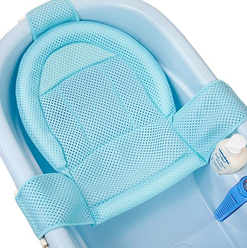 - Agirlvct Comfort Deluxe Newborn to ToddlerBaby Bath Seat Support Net,Adjustable Double Sling Safety Bathing Shower Bed Pillow Support Mesh for Bathtub Tub Soft Touch (Blue)