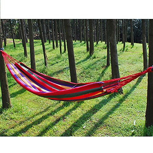 Sweet Dream Red one Person Hammock Hammock Cotton Fabric Travel Camping Hammock One Person(Red)