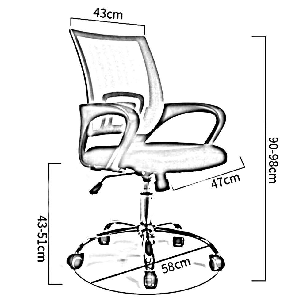WYYY stolar kontorsstol ergonomiskt nät armstöd säte höjd justerbar ländrygg stöd ryggskydd hållbar stark (färg: Brun) Svart