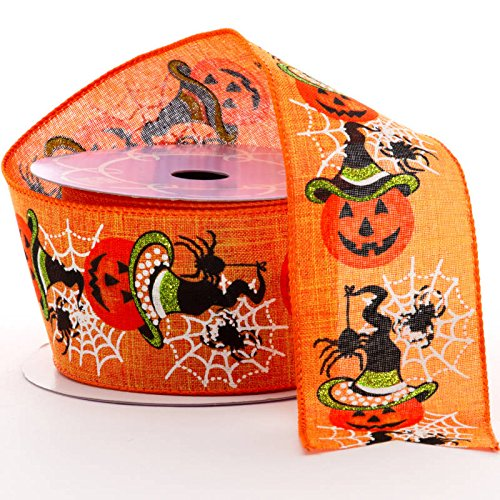 (Wired Edge Ribbon Halloween Decorations - 2 1/2