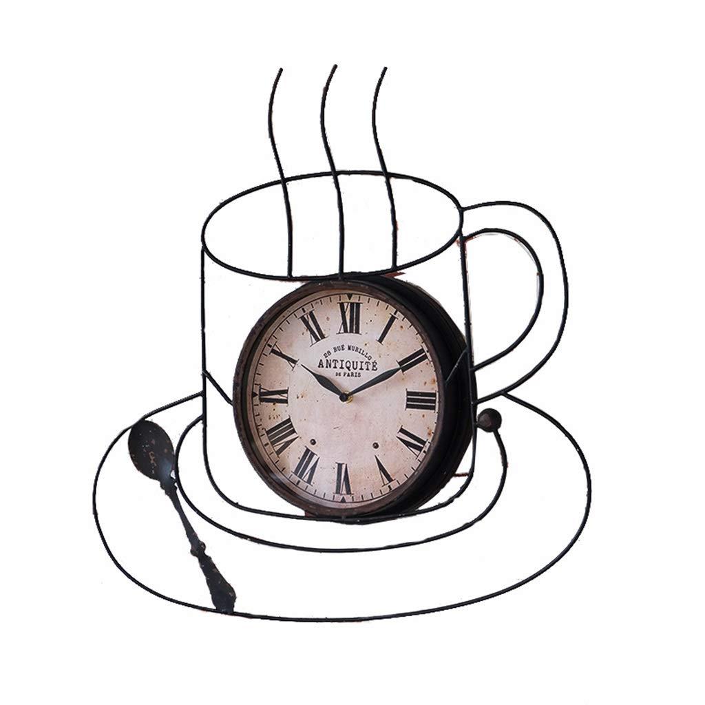 ホーム&時計 ウォールクロックレトロコーヒーカップシェイプウォールクロッククリエイティブクロックカフェウェストレストランバーウォールクロック サイレント掛け時計   B07QV6WHVV