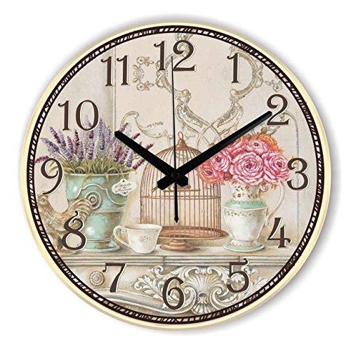 Moonluna Flower Bouquet Wood Wall Clock Ticking Silent Shabby Chic Home Office Cafe Decoration Watch Clock 12 - Clock Bouquet Wall
