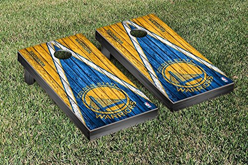 Golden State Warriors NBA Basketball Regulation Cornhole Game Set Triangle Weathered Version by Victory Tailgate