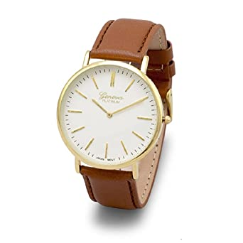f1371ad45d74 Image Unavailable. Image not available for. Color  Geneva Platinum Women s  Tan Leather Fashion Watch ...