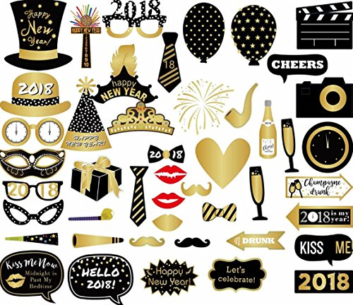 Losuya 2018 New Year Party Photo Booth Props 46pcs Funny Photobooth Props for New Years Eve Party Decoration
