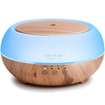 ASAKUKI 500ml Premium, Essential Oil Diffuser, 5 In 1 Ultrasonic Aromatherapy Fragrant Oil Vaporizer Humidifier, Purifies The Air, Timer and Auto-Off Safety Switch, 7 LED Light Colors /(Dark wood/)