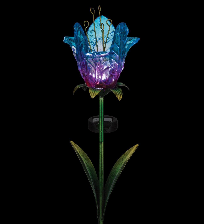Regal Art /& Gift 11618 Solar Ruffled Tulip Stake-Blue Solor D/écor