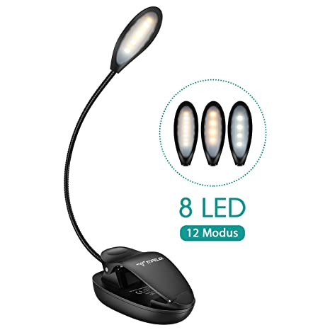 Leselampe Buch Klemme, TOPELEK 8 LED Buchlampe Bett, 3 Farbtemperatur, 4-Stufen Helligkeit, Memory-Funktion, Mikro USB Wieder