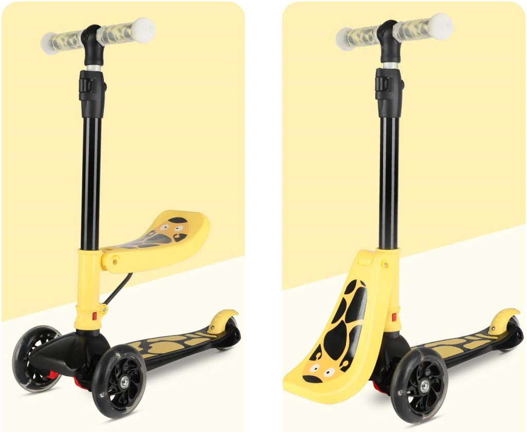 New Olym Kids Kick Scooters with Removable Seat 3 Wheel Toddlers Scooter Great for Boys Girls Mini Deluxe Adjustable Height PU Flashing Wheels Ride on Toys Children Ages 2-12 Years